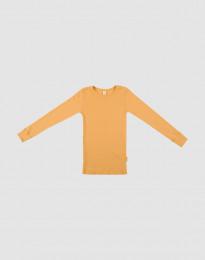 Børne trøje i bred uldrib gul
