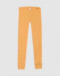 Børne leggings i uldrib gul