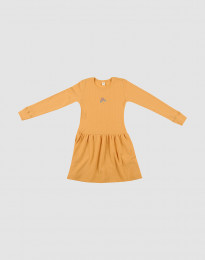 Uldkjole i ribstrik gul