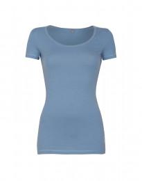 Bomulds t-shirt dame blå