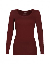 Bluse til kvinder i bomuld bordeaux rød