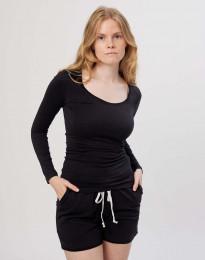 Bluse til kvinder i bomuld sort