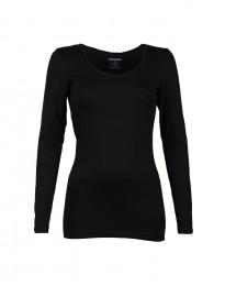 T-shirt til damer med lange ærmer. Økologisk bomuld/elastan sort