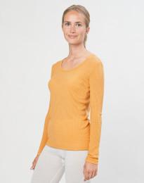 Merino trøje til kvinder i rib gul