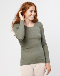 Merino trøje til kvinder i rib olivengrøn