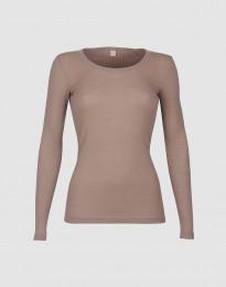 Merino trøje til kvinder i rib støvet rosa