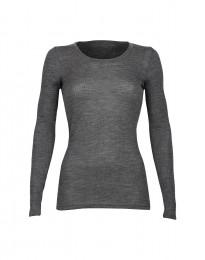 Merino trøje til kvinder i rib mørk gråmelange