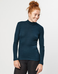 Merino trøje med høj hals i rib mørk petrolblå
