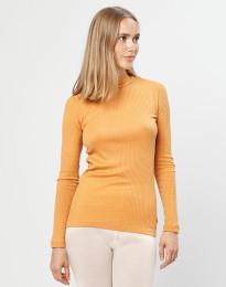 Merino trøje med høj hals i rib gul