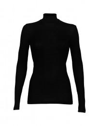 Merino trøje med høj hals i rib sort