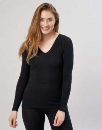 Langærmet trøje med v-hals sort