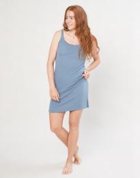 Natkjole i merino uld m/stropper blå