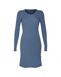 Langærmet natkjole i merino uld dueblå