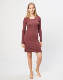Langærmet natkjole i merino uld rouge