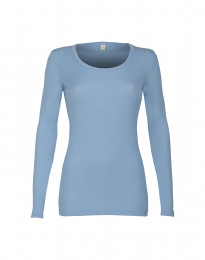Trøje til damer - økologisk merino uld lys blå