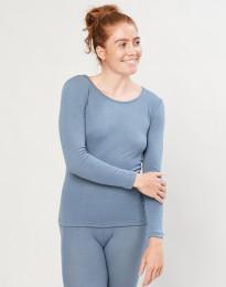 Trøje til damer - økologisk merino uld blå