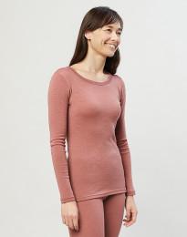 Trøje til damer - økologisk merino uld mørk rosa