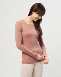 Langærmet trøje til damer - 100% økologisk merino uld pudder
