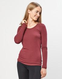 Langærmet trøje til damer - 100% økologisk merino uld rouge