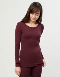 Trøje til damer - økologisk merino uld julerød