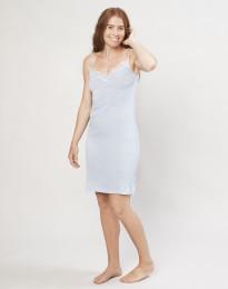 Natkjole til kvinder i økologisk uld/silke lyseblå