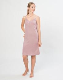 Natkjole til kvinder i økologisk uld/silke pastelrosa