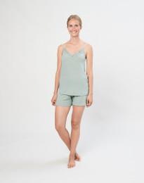 Natshorts til kvinder i økologisk uld/silke pastelgrøn