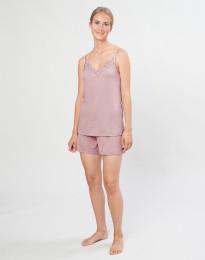 Natshorts til kvinder i økologisk uld/silke pastelrosa