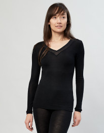 Bluse til kvinder i uld/silke sort