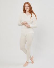 Leggings til kvinder i uld/silke natur