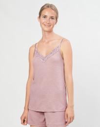 Stroptop med blonde til kvinder i økologisk uld/silke pastelrosa