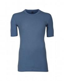 Merino T-shirt til herrer i bred rib dueblå