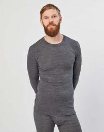 Langærmet merino uldtrøje til mænd i rib mørk gråmelange