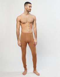 Merino uldleggings med gylp til mænd i rib karamel