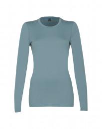 Langærmet dame trøje - eksklusiv merino uld mineral blå