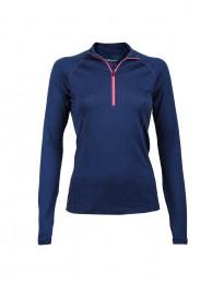 Trøje med lynlås til dame - eksklusiv merino uld mørk blå