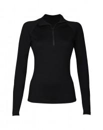 Trøje med lynlås til dame - eksklusiv merino uld sort