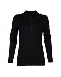 Trøje med hætte til kvinder - eksklusiv merinould sort