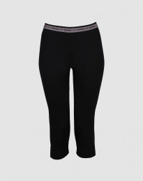 ¾ leggings dame - eksklusiv merino uld sort