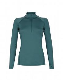 Trøje med lynlås til dame - eksklusiv merino uld turkis grøn
