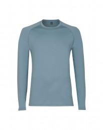 Langærmet herre trøje i eksklusiv merino uld mineral blå