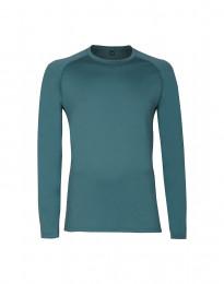 Langærmet herre trøje i eksklusiv merino uld turkis grøn
