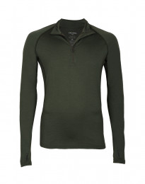 Herretrøje med lynlås - eksklusiv merino uld grøn