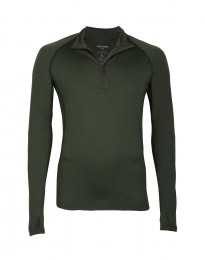 Herretrøje med lynlås - ekslusiv merino uld grøn