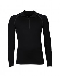Herretrøje med lynlås - eksklusiv merino uld sort