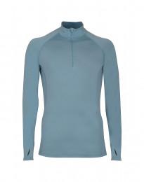Trøje med lynlås - eksklusiv merino uld mineral blå