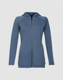 Hættetrøje i uldfrotté med lommer dueblå