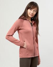 Hættetrøje i uldfrotté med lommer mørk rosa