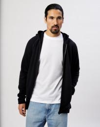 Herre hættetrøje i uldfrotté med lommer sort