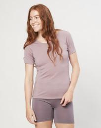 T-shirt til damer - økologisk eksklusiv merino uld gammelrosa
